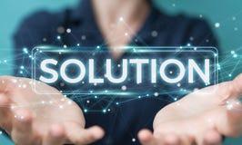 Empresaria que usa la representación digital del texto 3D de la solución ilustración del vector