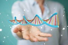 Empresaria que usa la representación moderna de la estructura 3D de la DNA Imagenes de archivo