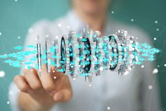 Empresaria que usa la representación moderna flotante del mecanismo de engranaje 3D ilustración del vector