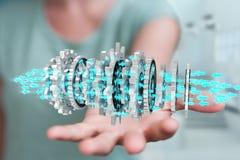 Empresaria que usa la representación moderna flotante del mecanismo de engranaje 3D Fotografía de archivo