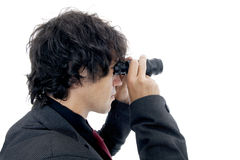 Empresaria que usa los prismáticos Imágenes de archivo libres de regalías