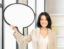 Empresaria sonriente con la burbuja en blanco del texto Imagen de archivo