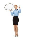 Empresaria sonriente con la burbuja en blanco del texto Fotos de archivo libres de regalías