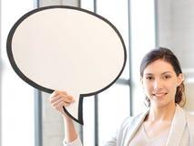 Empresaria sonriente con la burbuja en blanco del texto Fotografía de archivo