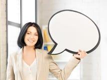 Empresaria sonriente con la burbuja en blanco del texto Fotografía de archivo libre de regalías