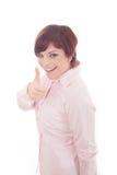 Empresaria sonriente feliz con los pulgares para arriba Imagen de archivo