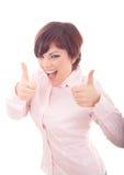 Empresaria sonriente feliz con los pulgares para arriba Fotografía de archivo