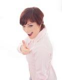 Empresaria sonriente feliz con los pulgares para arriba Foto de archivo libre de regalías