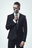 Empresaria sospechosa con el esqueleto del maquillaje fotos de archivo libres de regalías