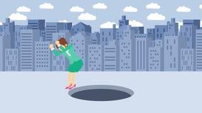 Empresaria Walking Caída en el agujero de la ciudad grande metr?poli Edificios Get cogió en una trampa Concepto del asunto Animat libre illustration