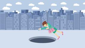 Empresaria Walking Caída en el agujero de la ciudad grande metr?poli Edificios Get cogió en una trampa Concepto del asunto Animat stock de ilustración