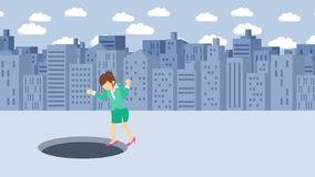 Empresaria Walking Caída en el agujero de la ciudad grande metr?poli Edificios Get cogió en una trampa Concepto del asunto Animat ilustración del vector