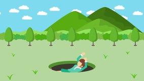 Empresaria Walking Caída en el agujero de prados con las montañas Hierba salvaje de la naturaleza Get cogió en una trampa Concept libre illustration