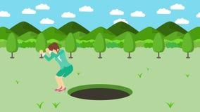 Empresaria Walking Caída en el agujero de prados con las montañas Hierba salvaje de la naturaleza Get cogió en una trampa Concept stock de ilustración
