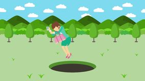 Empresaria Walking Caída en el agujero de prados con las montañas Hierba salvaje de la naturaleza Get cogió en una trampa Concept ilustración del vector
