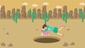 Empresaria Walking Caída en el agujero del desierto sobre la colina barranca yermo Get cogió en una trampa Concepto del asunto re ilustración del vector