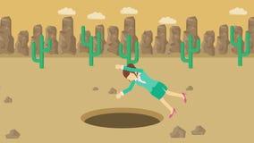 Empresaria Walking Caída en el agujero del desierto sobre la colina barranca yermo Get cogió en una trampa Concepto del asunto re stock de ilustración