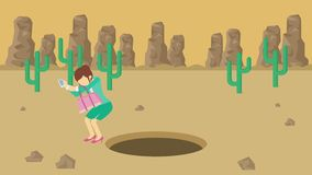Empresaria Walking Caída en el agujero del desierto sobre la colina barranca yermo Get cogió en una trampa Concepto del asunto re libre illustration