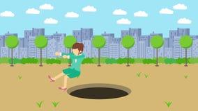 Empresaria Walking Caída en el agujero del parque moderno de la ciudad Campo Edificio del horizonte Get cogió en una trampa Conce libre illustration