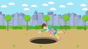 Empresaria Walking Caída en el agujero del parque moderno de la ciudad Campo Edificio del horizonte Get cogió en una trampa Conce ilustración del vector