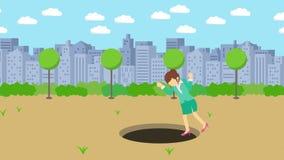 Empresaria Walking Caída en el agujero del parque moderno de la ciudad Campo Edificio del horizonte Get cogió en una trampa Conce stock de ilustración