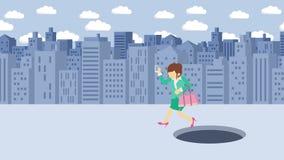 Empresaria Walking Salto sobre el agujero de la ciudad grande metr?poli Edificios Get cogió en una trampa Concepto del asunto Ani stock de ilustración