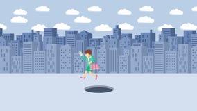 Empresaria Walking Salto sobre el agujero de la ciudad grande metr?poli Edificios Get cogió en una trampa Concepto del asunto Ani libre illustration