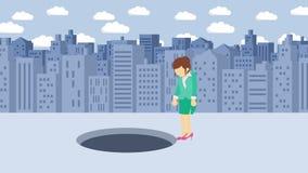 Empresaria Walking Salto sobre el agujero de la ciudad grande metr?poli Edificios Get cogió en una trampa Concepto del asunto Ani ilustración del vector