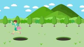Empresaria Walking Salto sobre el agujero de prados con las montañas Hierba salvaje de la naturaleza Get cogió en una trampa Conc libre illustration