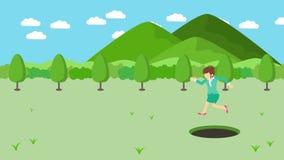 Empresaria Walking Salto sobre el agujero de prados con las montañas Hierba salvaje de la naturaleza Get cogió en una trampa Conc stock de ilustración
