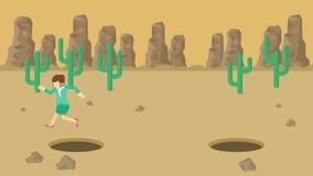 Empresaria Walking Salto sobre el agujero del desierto sobre la colina barranca yermo Get cogió en una trampa Concepto del asunto ilustración del vector