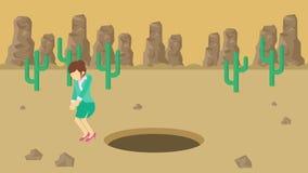 Empresaria Walking Salto sobre el agujero del desierto sobre la colina barranca yermo Get cogió en una trampa Concepto del asunto stock de ilustración