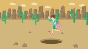 Empresaria Walking Salto sobre el agujero del desierto sobre la colina barranca yermo Get cogió en una trampa Concepto del asunto libre illustration