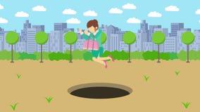 Empresaria Walking Salto sobre el agujero del parque moderno de la ciudad Campo Edificio del horizonte Get cogió en una trampa Co stock de ilustración