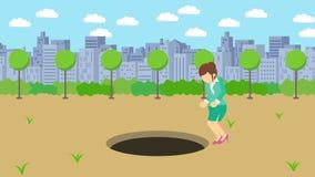 Empresaria Walking Salto sobre el agujero del parque moderno de la ciudad Campo Edificio del horizonte Get cogió en una trampa Co libre illustration