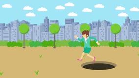 Empresaria Walking Salto sobre el agujero del parque moderno de la ciudad Campo Edificio del horizonte Get cogió en una trampa Co ilustración del vector
