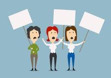 Empresarias que protestan con los carteles en blanco Fotografía de archivo libre de regalías