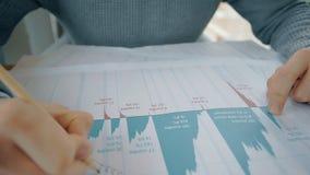 Empresario americano que trabaja con el proyecto financiero, escribiendo la sentada en la tabla en sitio metrajes