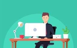 Empresario del hombre de negocios en un traje que trabaja en su escritorio de oficina Ejemplo del vector en estilo plano ilustración del vector