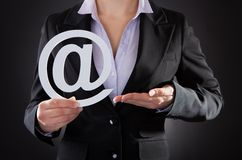 Empresario With Email Symbol Foto de archivo libre de regalías