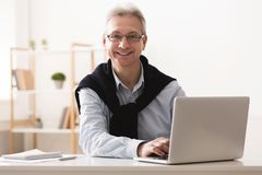 Empresario maduro que trabaja en el ordenador portátil en casa fotografía de archivo libre de regalías