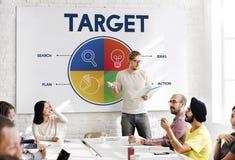 Empresario Strategy Target Concept de la puesta en marcha del negocio imagenes de archivo