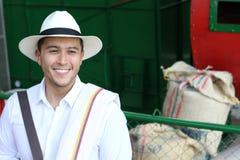 Empresario suramericano auténtico del café fotos de archivo
