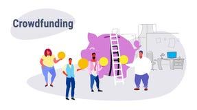Empresarios crowdfunding del concepto de la gente del grupo de la inversi?n del inversor casual del dinero que invierten la hucha libre illustration
