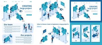 Empresarios jovenes isométricos Team Working stock de ilustración