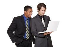 Empresarios - personas felices de la computadora portátil Fotografía de archivo