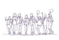 Empresarios que animan Team Over White Background, grupo de Skecth de hombres de negocios felices dibujados mano que celebran éxi libre illustration