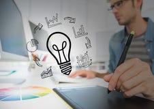 empresarios que escriben con la escritura del overlays_businesspeople del gráfico con el gráfico overlays_0003 Fotografía de archivo