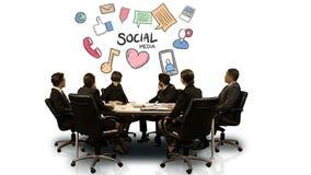 Empresarios que miran la pantalla futurista que muestra medios símbolo social stock de ilustración