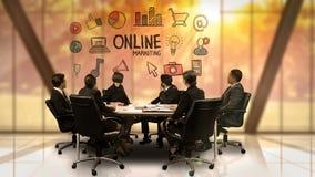 Empresarios que miran la pantalla futurista que muestra símbolo en línea del márketing stock de ilustración